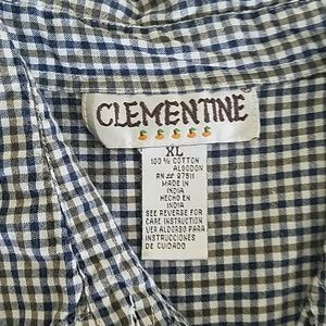 clementine Tops - Black checkered xl sleeveless button top
